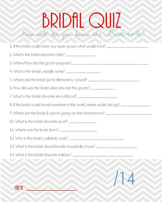 Bridal Shower Quiz