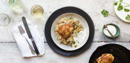 hero__Pan_Roasted_Chicken_Thighs_with_Bulgur__Raisins__and_Pine_Nuts_hero